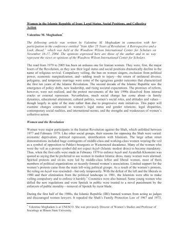 Women in the Islamic Republic of Iran: Legal Status, Social ...