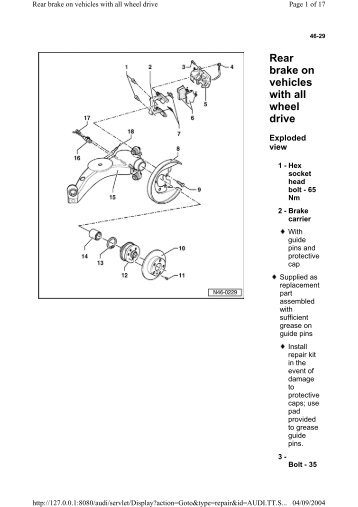 Rear brake on vehicles with all wheel drive - Wak-TT