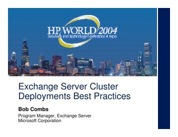Best Practices for Exchange Server 2000 and 2003 ... - OpenMPE
