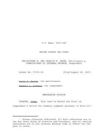 TC Memo. 2007-258 - U.S. Tax Court