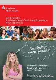 Gut für Schulen. Schülerwettbewerb 2013 - Sparkasse Rhein-Haardt