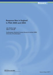 Response Bias in England In PISA 2000 and 2003 - Department for ...