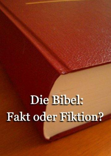 Die Bibel: Fakt oder Fiktion? - Welt von Morgen- Home Page