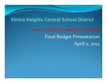 Budget Presentation 4-2-2012 - Elmira Heights Central School District
