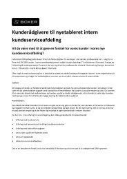 Kunderådgivere til nyetableret intern kundeserviceafdeling - Boxer