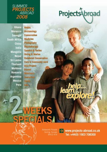 2-Week Specials 2008 Leaflet - Projects Abroad