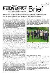 Mitteilungen der Stiftung Sudetendendeutsches Sozial ... - Heiligenhof