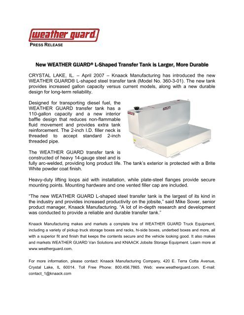 Download a pdf of this press release - Weather Guard