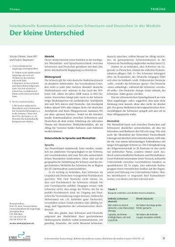 Der kleine Unterschied - Schweizerische Ärztezeitung