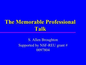 The Memorable Professional Talk - Rose-Hulman