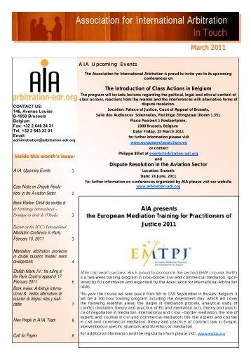 Newsletter March 2011 - Association for International Arbitration