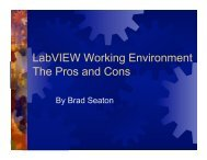 LabVIEW Working Environment The Pros and Cons