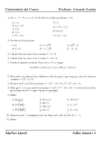 Gerardo Loaiza Álgebra Lineal Taller número 1 - Universidad del ...