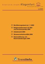 r Bevölkerungsstand am 1.1.2005 r Religionsbekenntnis ... - Klagenfurt
