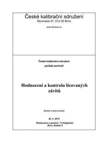 Hodnocení a kontrola lícovaných závitů - České kalibrační sdružení