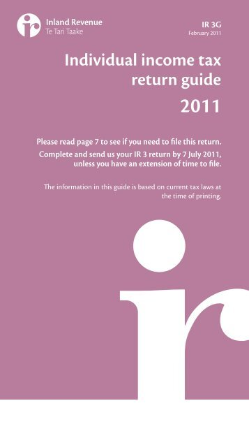 Individual income tax return guide 2011 - Inland Revenue Department