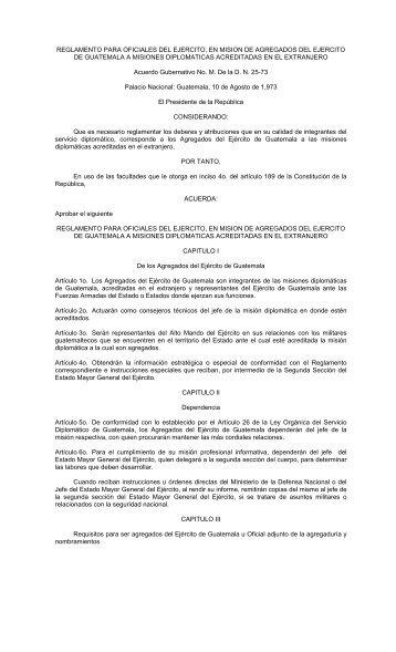 reglamento para oficiales del ejercito, en mision de agregados del ...