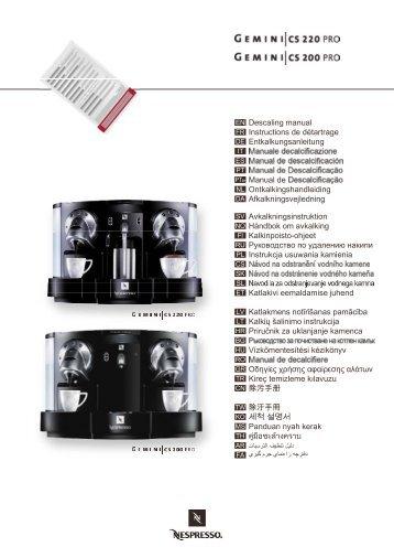 descaling kitclassic manual classic automatic nespresso. Black Bedroom Furniture Sets. Home Design Ideas