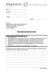 WOHNUNGSANSUCHEN - Magistrat Klagenfurt