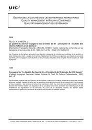 Gestion de la qualité dans les entreprises ferroviaires - UIC