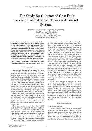 The Study for Guaranteed Cost Fault Tolerant Control of the ...