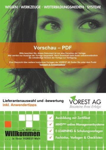 Lieferantenauswahl und -bewertung - Vorest AG