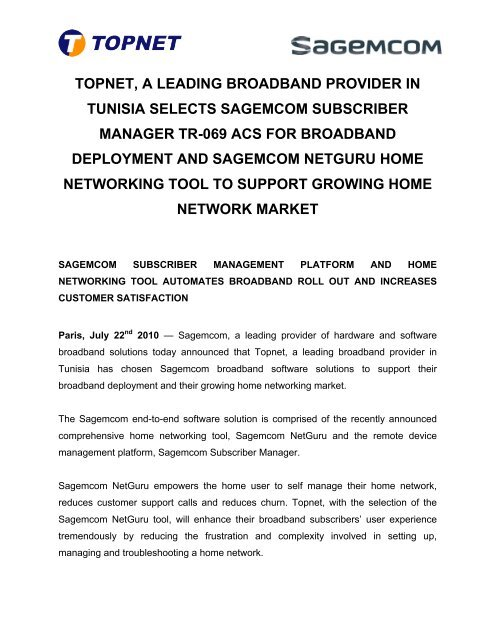 topnet, a leading broadband provider in tunisia selects - Sagemcom
