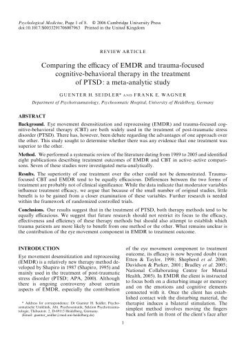 Comparing the efficacy of EMDR and trauma-focused cognitive ...