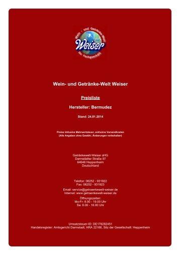 Preisliste für Hersteller: Bermudez - und Getränke-Welt Weiser