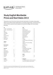 Study English Worldwide Prices and Start Dates 2013