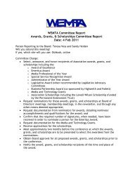 Awards, Grants, and Scholarships Feb. 2011 - WEMTA