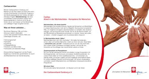 Caritas: Arbeit in der Nächstenliebe ... - Caritasverband Duisburg e.v.