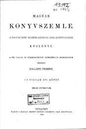 Magyar Könyvszemle Új folyam XVI. kötet, 1. füzet 1908 ... - EPA