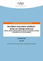AVC, prise en charge précoces Argumentaire - SFMU