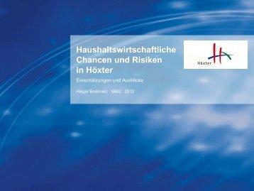 Haushaltswirtschaftliche Chancen und Risiken in Höxter - CDU Höxter