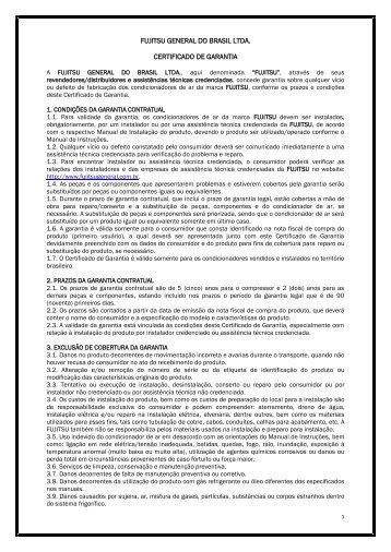 FUJITSU GENERAL DO BRASIL LTDA. CERTIFICADO DE GARANTIA