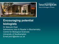 School of Biological Sciences - University of Southampton
