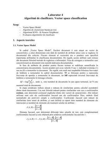 Laborator 4 Algoritmi de clasificare. Vector space classification
