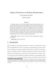 Mergers, Divestitures and Industry Reorganization - the School of ...