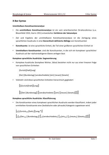 X-Bar-Syntax - Universität Bielefeld