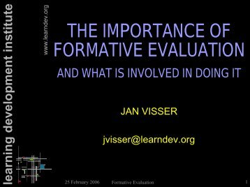 The Importance of Formative Evaluation - Learning Development ...