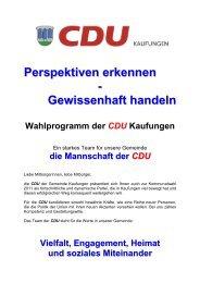 Perspektiven erkennen - Gewissenhaft handeln ... - CDU Kaufungen