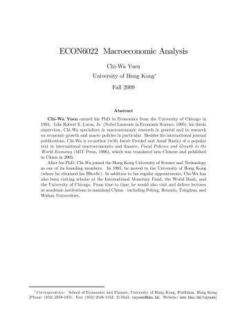 Macroeconomic Analysis - the School of Economics and Finance ...