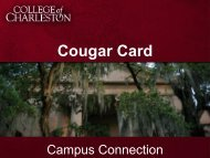 Cougar Card Services Slideshow - Orientation - College of Charleston