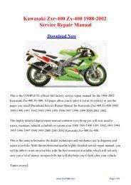 1988-2002 Kawasaki Zxr-400 Zx-400 Workshop ... - Repair manual