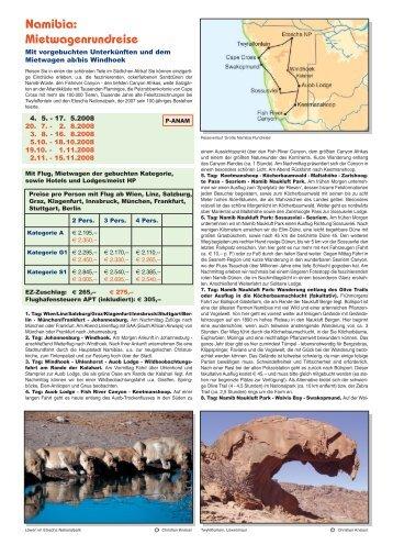 Namibia: Mietwagenrundreise - Kneissl Touristik