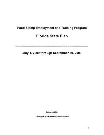 (FSET) State Plan - Department of Economic Opportunity