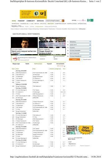 Seite 1 von 2 Staffelspielplan B-Junioren Kreisstaffeln: Bezirk ...