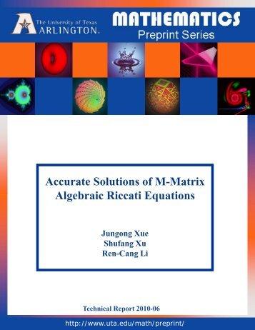 Accurate Solutions of M-Matrix Algebraic Riccati Equations