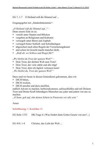 """""""Liebe"""" über Römer 12 am 2. Advent, 8.12.2013 ... - reformiert-info.de"""